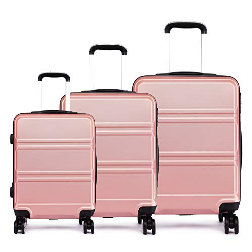 """Kono 3pcs Luggage Set 4 Wheels Spinner Trolley Suitcase Lightweight ABS Luggage 20"""" 24"""" 28"""" (3-Piece Set Nude)"""
