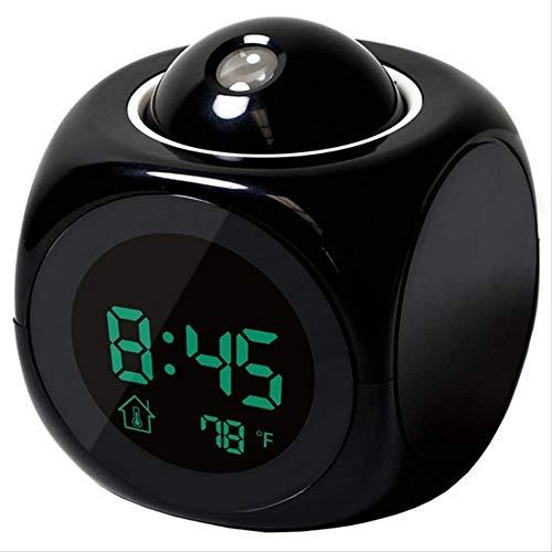 hhxiao - Sveglia digitale multifunzione, con display LCD, display a proiezione e orario, da tavolo, sveglia parlante vocale, termometro snooze retroilluminato