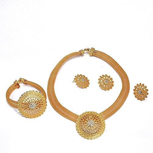 VAWAA Dubai Gold 24K Conjuntos de Joyas para Mujeres Joyería Nupcial Africana de la Boda Collar de Fiesta Pendientes Anillo Brazaletes Conjunto de Joyas de circón