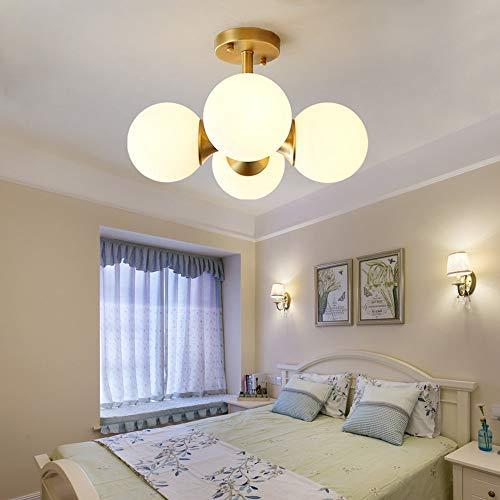 KK Timo Lámpara LED de techo de cobre para dormitorio principal, minimalista, sala de estar, sala de estudio, sala de matrimonio, 40 x 26 cm, redonda de cobre