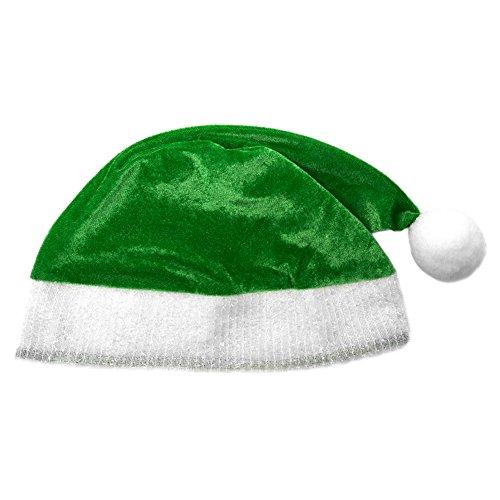 Green Plush Santa Hat - Holiday Xmas Christmas Costume Party Hat