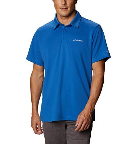 Columbia Men's M Mist Trail Short Sleeve Polo Shirt, Moisture Wicking, Sun Protection, Bright Indigo, X-Large