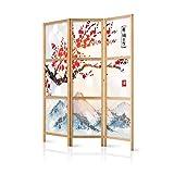 murando - Paravent Kirschblüte Gebirge 135x171 cm - 3-teilig - einseitig - eleganter Sichtschutz - Raumteiler - Trennwand - Raumtrenner - Holz - Design Motiv - Deko - Japan p-B-0002-z-b