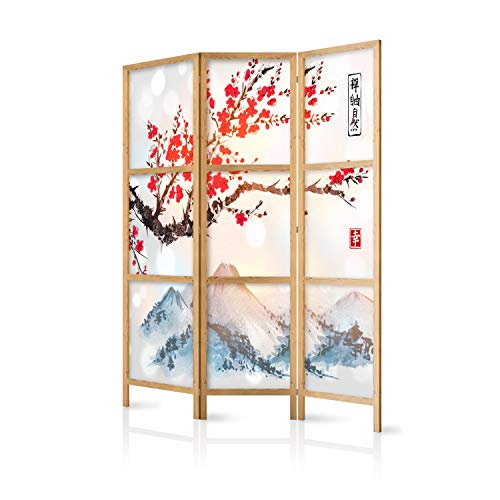 murando - Paravent Kirschblüte Gebirge 135x171 cm 3-teilig einseitig eleganter Sichtschutz Raumteiler Trennwand Raumtrenner Holz Design Motiv Deko Home Office Japan p-B-0002-z-b