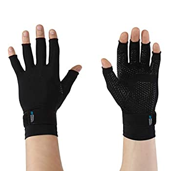 Copper Fit unisex adult Ice Compression Gloves Infused with Menthol and Coq10 for Recovery Black Large X-Large US