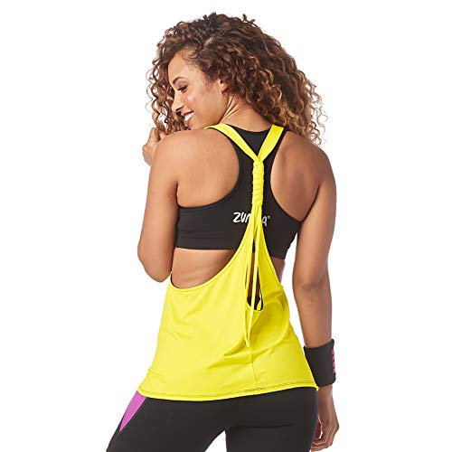 Zumba Activewear Backless Top Deportivo Dance Fitness Camisetas de Entrenamiento, Blackish, X-Small