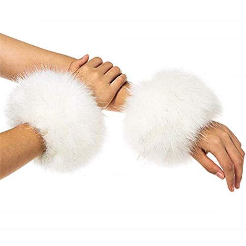 KIRALOVE Polsini - Idea regalo originale - Polsi in Eco Pelliccia - manicotti per maglie e cappotti - bianco - confezione 2 pz - Ottima qualità