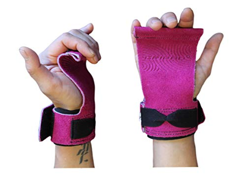 Gripad AMRAP Cross-Training Grips for Pull-ups, Weightlifting, WODs with Wrist Straps | Comfort and Support | Hand Protection from Rips and Blisters | Men and Women. (Pink, Small)