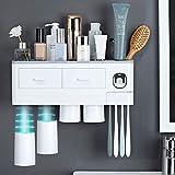 GLEYDY Porta Cepillo De Dientes, Dispensador automático de Pasta Dental,Copa De Adsorción Magnética,Estante para Baño, Plástico ABS, 4 Tazas Gratis