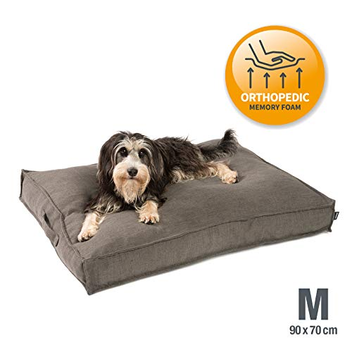 JAMAXX Premium Hundekissen in edler Leinen-Optik - Orthopädisch Memory Visco Schaumstoff - Waschbar Abnehmbarer Bezug/Wasserabweisender Innenbezug - Hundebett PDB1005 (M) 90x70 braun-grau