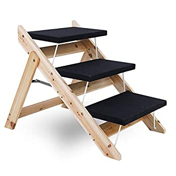Timechee 2-in-1 Pet Dog Stairs 3 Levels Folding Wooden Pet Ramp/Stairs Portable Safety Beside Dog Steps Ladder Perfect for Bed and Car Non Slip Carpet Surface Height Adjustable Ramp Up to 100 Lbs