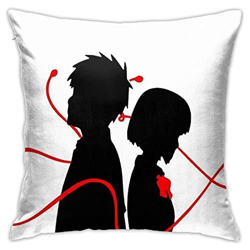 Taki And Mitsuha - Funda de cojín de cuerda roja para sofá, dormitorio, 45,7 x 45,7 cm