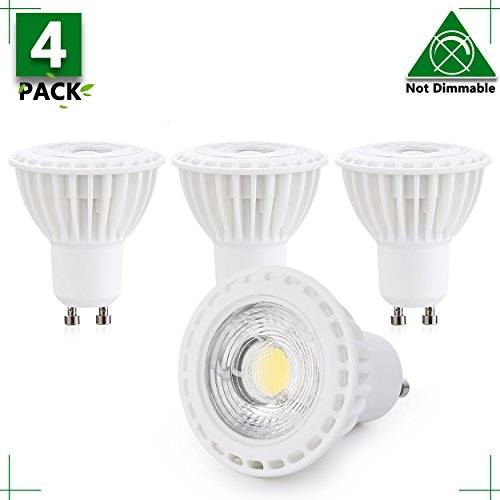 GU10 LED Bulb Not Dimmable, 3W GU10 LED Light 25W Equivalent, 4000K Natural White GU10 Spotlight with 300 Lumen,120V 38°Beam Angle? Recessed Light, Track Light 2 Years Warranty (Pack of 4)