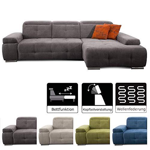CAVADORE Schlafsofa Mistrel mit Longchair XL rechts / Große Eck-Couch im modernen Design / Mit Bettfunktion / Inkl. verstellbare Kopfteile / Wellenunterfederung / 273 x 77 x 173 / Kati Fango