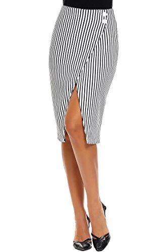 Zeagoo Women High Waist Striped Pencil Skirt Stretchy Knee Length Split Wrap Skirt, White, Large