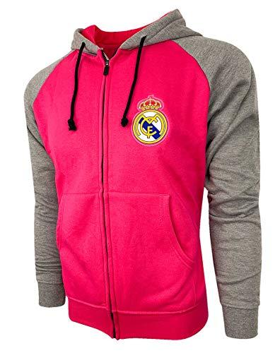 Real Madrid Zip Front Fleece Hoodie Sweatshirt Jacket HOT Pink Gray NEW Season (Large)