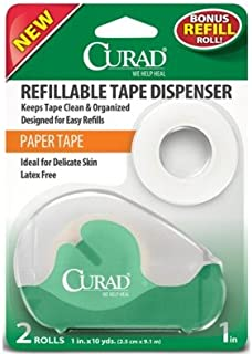 Curad Paper Adhesive Tape with Refillable Tape Dispenser, 2 Count