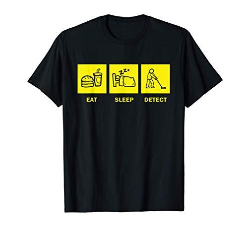 Hombre Funny Eat Sleep Detector de metales Buscador de monedas Camiseta