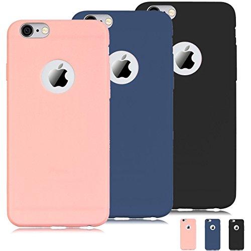 "TODO [3 pièces] Coque iPhone 6 / 6S (4.7"") Housse Etui Flexible TPU Souple Silicone Ultra Mince Lége Anti - Rayures Gel Housse Pare-Chocs Protection - Rose + Bleu + Noir"