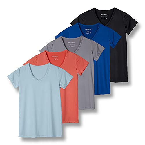 5 Pack: Womens V Neck T-Shirt Ladies Yoga Top Athletic Tees Active...