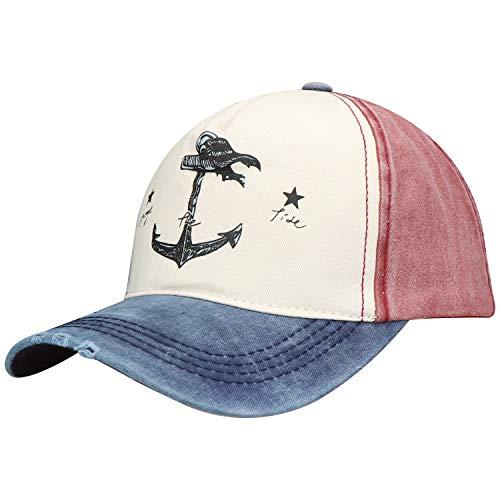 Selldorado® Basecap für Männer und Frauen - Kappe Used Look - Stylisches Baseballcap mit Anker - Schirmmütze mit Verstellbarer Größe (Bordeaux)