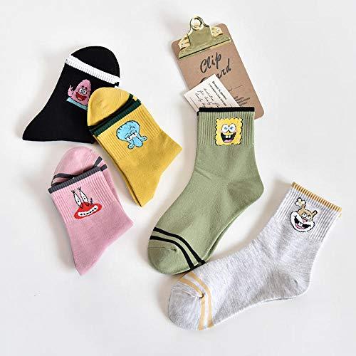 POYANG 5 Paar Mittelrohrsocken weibliche Herbst- und Wintertrend frisch gestreifte Socken Paar Socken Einheitsgröße-Spongebob_Einheitsgröße