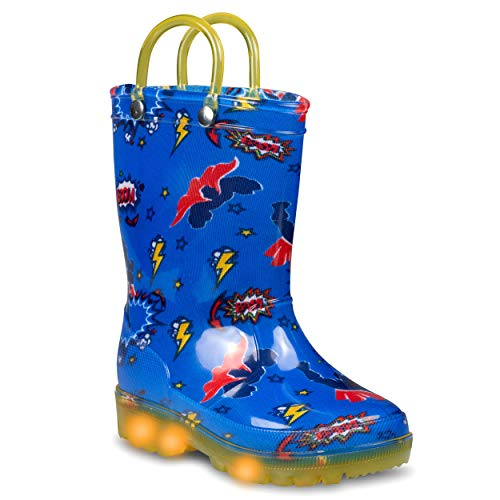 ZOOGS Light Up Kids Toddler Rain Boots for Girls and Boys with Handles, Superhero- 5 Toddler