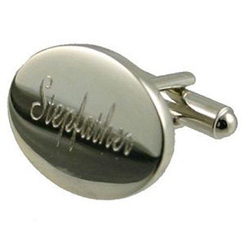 Select Gifts Beau-père poli argenté grand mariage pochette noir avec boutons de manchette ovale