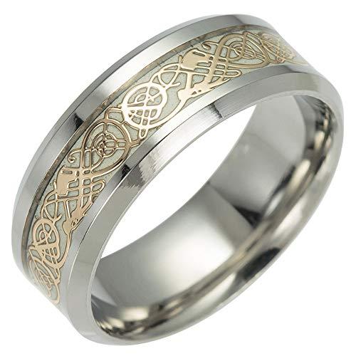 Edhua Herren Ring, Herrschender Ring, Farbtrennungs-Verlobungsring, Leuchtender Lichtring Fluoreszierender Neuer Schmuck