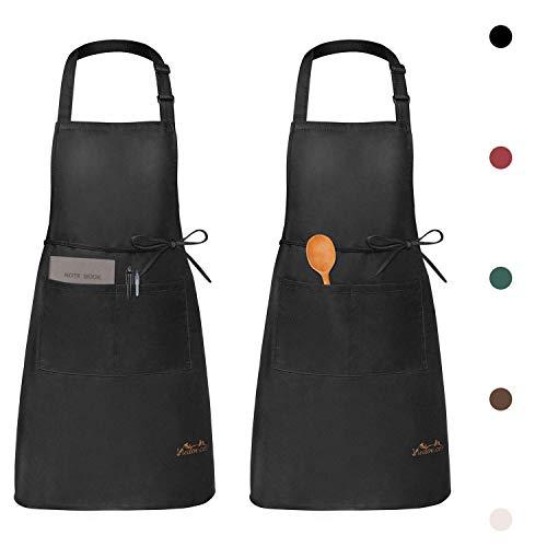 Viedouce 2 Pezzi Grembiule da Cucina Chef,Grembiule da Ristorante BBQ Bar Chef Cucina,Regolabile Grembiuli con Tasche Chef di Cucina,Impermeabile,Gembiule Cucina Uomo Donna (Nero)