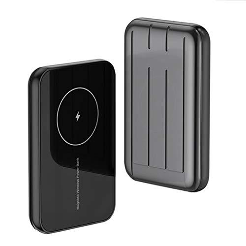 MILUUK Cargador Inalámbrico mag-Safe 15W Fast Power Bank, 5000 / 10000mAh Mini Cargador Portátil, Adecuado para iPhone 12/12 Mini/Pro/MAX (Gris,10000mAh)