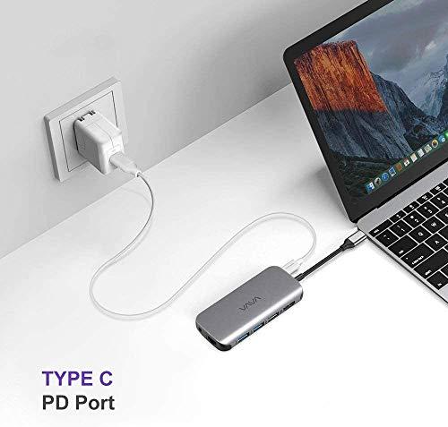 VAVA USB C Hub 9-in-1 60W Power Delivery 2 USB 3.0,4K HDMI,RJ45Ethernet,SD/TF Kartenleser,PD Ladeanschluss,3.5mm Audio Port für MacBook/Pro/Air Google Chromebook Pixelbook und andere USB C Geräte