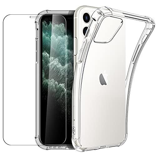 New&Teck Coque Compactible avec iPhone 11 (6.1) + [Verre Trempé Protection écran], Housse Etui en Transparent Silicone TPU Souple [Bumper avec Coins Renforcés], Protection Claire.