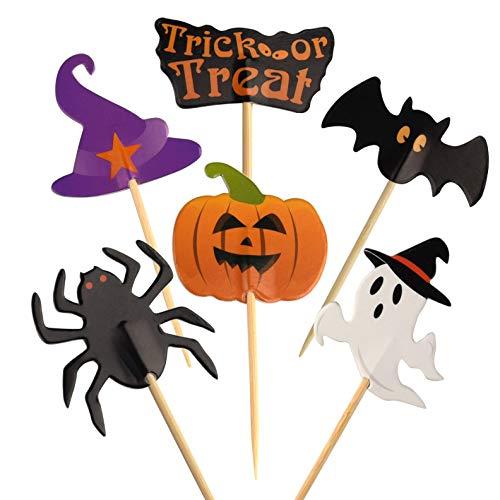 FEPITO 60 Stücke Halloween Cupcake Topper Halloween Zahnstocher Markierungsfahnen Marker für Halloween Party Kuchen Essen Käseplatte Vorspeisen Dekor
