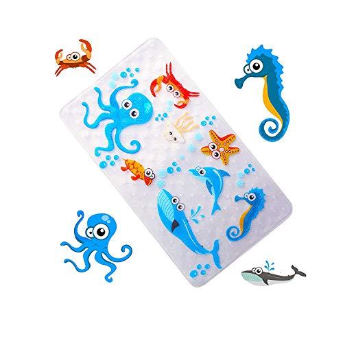 WARRAH Qualitäts-Baby-Anti-Rutsch-Antibakterielle Badmatte, schimmelbeständig Anti-Rutsch-Matten für Kinder, Antibakterielle Anti-Rutsch-Resistant Badezimmer-Matte für Kinder, Latex-Free 39cm/15in*70cm/27in (Dark Blue)