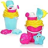 com-four® 14-teiliges Strandspielzeug-Set - Sandspielzeug für Strand und Sandkasten - Eimer,...