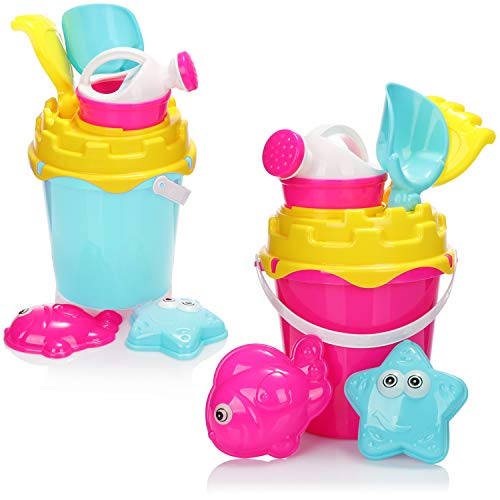com-four® 14-teiliges Strandspielzeug-Set - Sandspielzeug für Strand und Sandkasten - Eimer, Schippe, Formen und Gießkanne [Auswahl variiert] (Set 2 - 14-teilig)