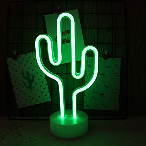 Cactus Neon Sign Night Light Lamp with Holder Base Decorative Marquee Signs Light Battery Operated...