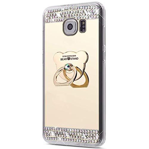 Miagon Coque pour Galaxy S7 Edge,Luxe Cristal Paillette Glitter Strass Diamant Placage Miroir TPU Bumpe Couverture Étui Housse avec Ours Supporter pour Samsung Galaxy S7 Edge