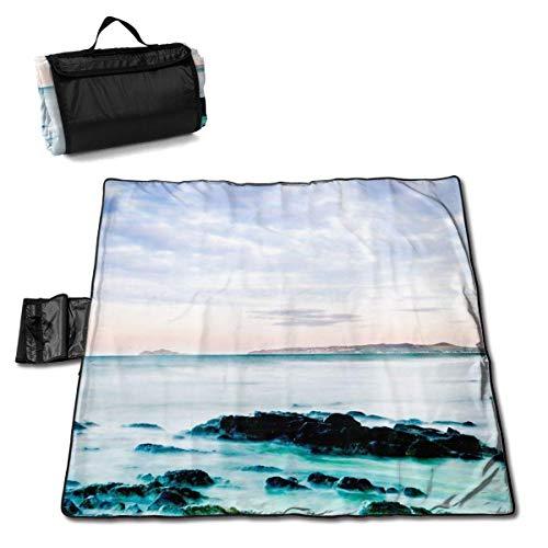 Suo Long Couverture de Pique-Nique Beach Clouds Coast Tapis de Pique-Nique Pliant Portable Tote Camping Mat