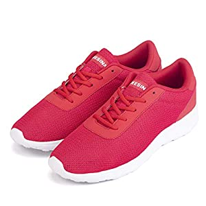 Jeesina Mens Casual Mesh Athletic Sneakers, Men's Ultra Lightweight Breathable Mesh Walking Shoes, Non Slip Resistant Gym Running Shoes for Mens (Red, Numeric_7)