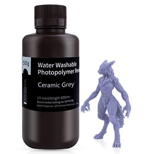 ELEGOO 405nm Wasser Waschbares Resin, 3D Drucker Rapid Resin für LCD UV Härtung Photopolymer 3D Drucker 500g Grau