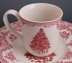 Red Christmas Tree Johnson Brothers Old Britain Castles Mug, Set of 4