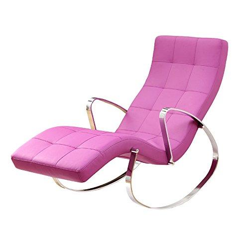 Chair Zhaizhen Chaise longue à bascule pour maison, balcon, loisirs, canapé simple et tendance en PU pour cour extérieur (couleur : rose)