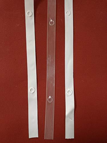 Cortina de cinta con anillas para cortinas de paquete, grosor 16 mm, para coser o termosoldar, color blanco y transparente, se vende por metros
