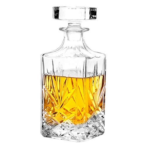 Decantador de cristal con tapón geométrico hermético – Decantador de whisky para vino, bourbon, brandy, licor, zumo, agua, enjuague bucal. Vidrio italiano sin plomo (24 oz/720 ml)