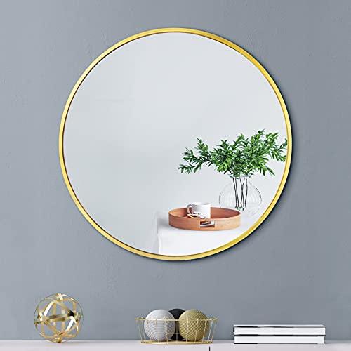 FAUETI - Espejo redondo de 40 cm, espejo redondo dorado con cristal HD, sin agujeros, elegante espejo redondo para dormitorio, baño, salón y vestidor