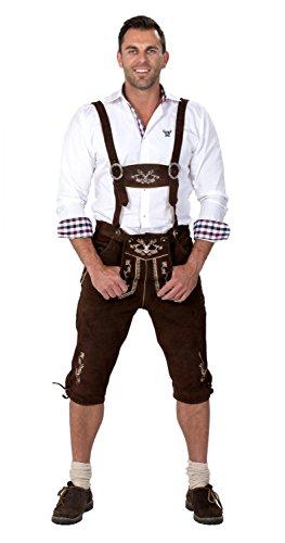 Almwerk Herren Trachten Lederhose Kniebund Modell Hipster, Farbe:Braun;Lederhose Größe Herren:54