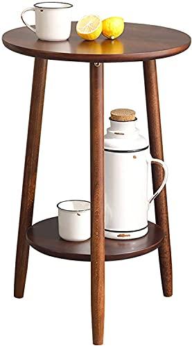 HKAFD Mesa de centro redonda de madera maciza, mesa de centro de ocio de 2 niveles, mesa de salón, dormitorio, cafetería, bar, mesa alta fácil de montar (color: A, tamaño: 40 x 40 x 60 cm)