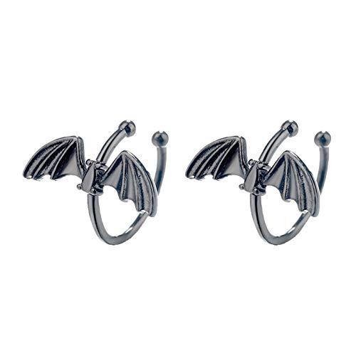 Moares orecchini per le donne, moda donna clip su orecchini stile pipistrello nessun piercing orecchio polsino gioielli regali - nero